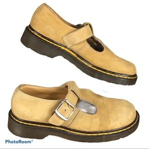 Vtg 90s Doc Marten yellow suede Mary Janes UK5